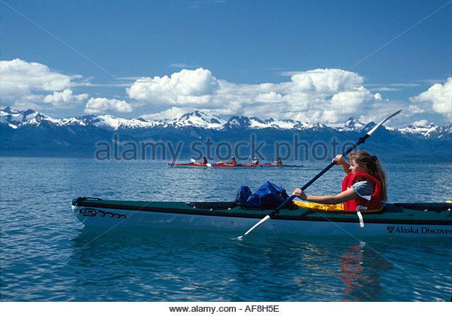 Alaska Juneau Favorite Channel Alaska Discovery Sea Kayak trip Chilkat Range beyond - Stock Image
