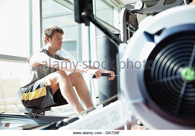 exercising on a rowing machine