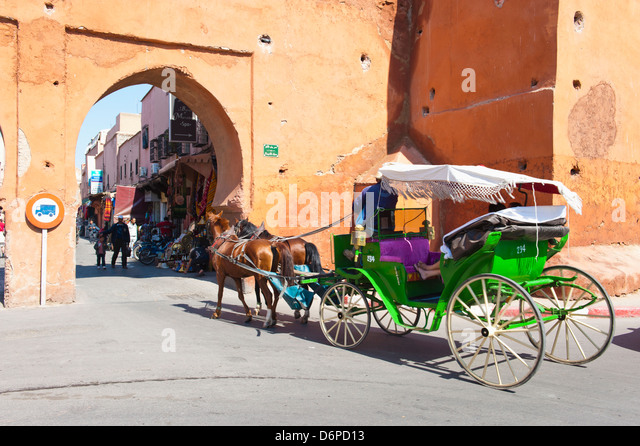 Tourists in Marrakech enjoying a horse and cart ride around the old medina, Marrakech, Morocco, North Africa, Africa - Stock-Bilder