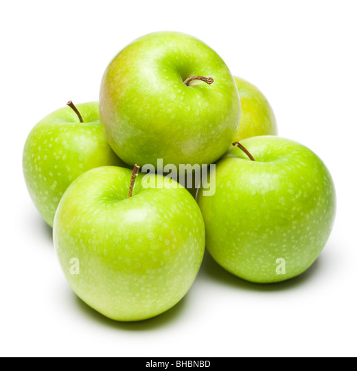 Apples - green apples on white background studio cut out - Stock Image
