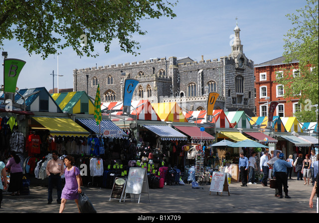 Norwich Market and Guildhall, Norfolk - Stock Image