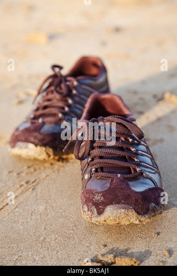 shoe and sand background - Stock-Bilder