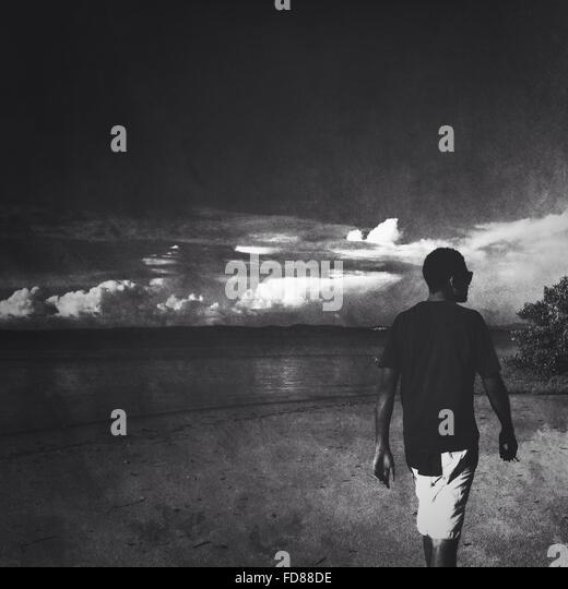 Rear View Of Young Man Walking At Beach - Stock Image