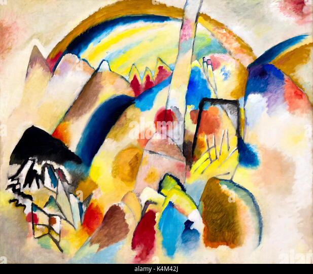 Landscape with Red Spots, Number 2, by Vasily Kandinsky, 1913, Peggy Guggenheim Collection, Venice, Italy, Europe - Stock Image