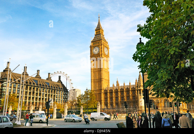 Big Ben and Houses of Parliament, Parliament Square, Westminster, London, England, UK - Stock Image