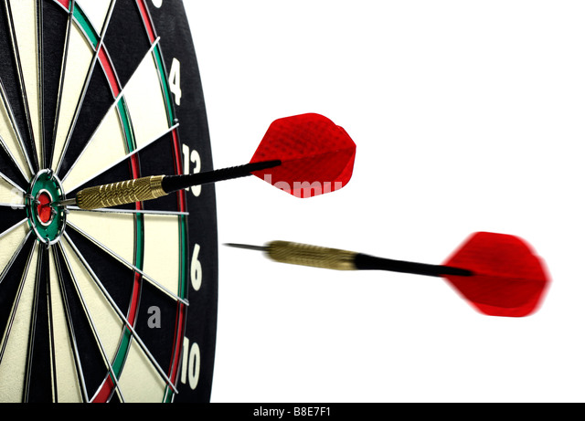 Darts and Dart Board - Stock Image