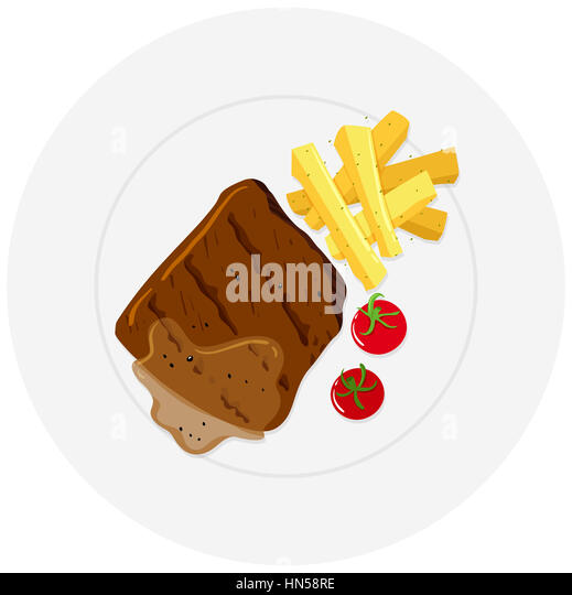 Beef steak and fries on plate illustration - Stock Image