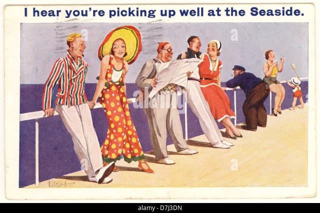 Saucy seaside postcard  dated 14 September 1934, U.K. - Stock Image
