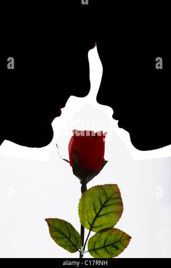 Lovers with a red rose looking into each other's eyes, backlight - Stock Image