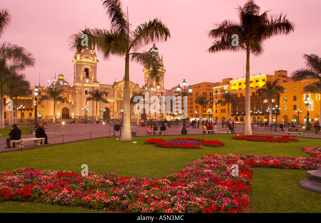 Plaza Mayor the Cathedral at dusk Lima Peru - Stock Image