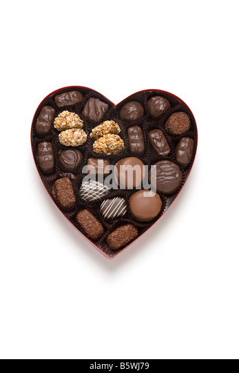 chocolate heart candy valentines day gift - Stock Image
