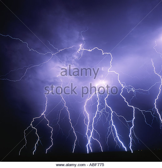 Huge lightning bolts crash down from a severe thunderstorm west of Siera Vista Arizona - Stock Image