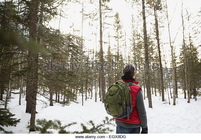 Man in warm clothing backpacking in snowy woods - Stock Image