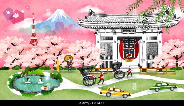 Mount Fuji With A Pagoda - Stock Image