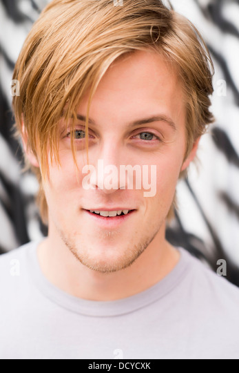 Close up Portrait of Young Man - Stock Image