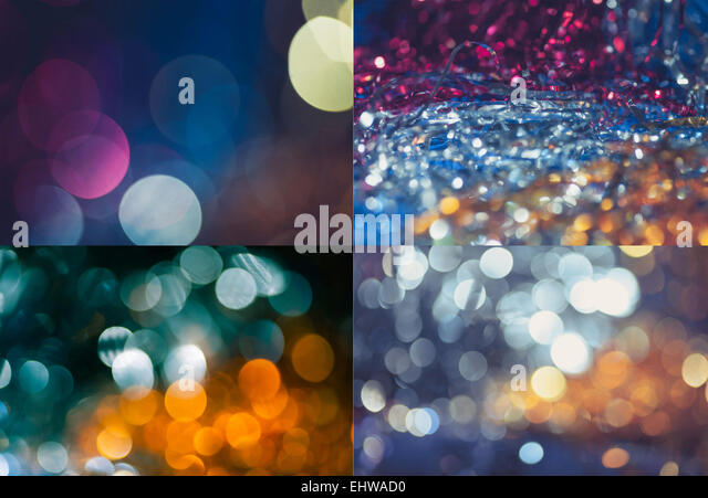 set of holiday blurred backgrounds - Stock Image