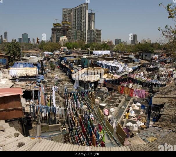 Dhobi Ghat, the main city laundries at Mahalaxmi, Mumbai, India, Asia - Stock Image
