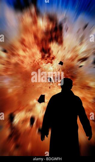 bomb squad man checking explosion - Stock Image