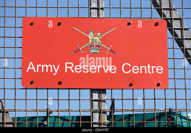 british army army reserve centre sign on wire fence in the uk - Stock Image