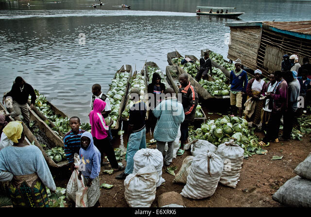 Market day at lake Bunyonyi, Uganda, Africa - Stock Image