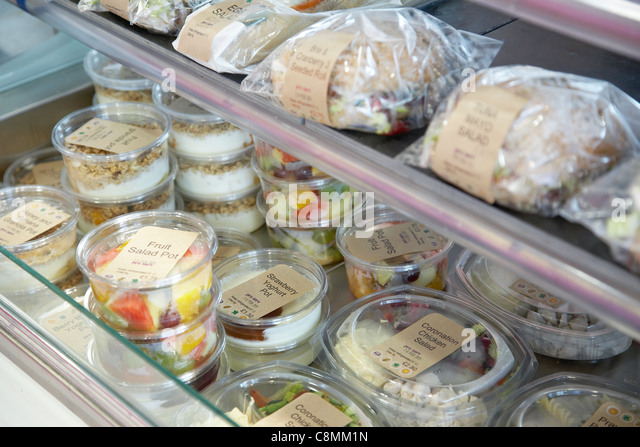 Selection of sandwiches and other food items at a office canteen. - Stock Image