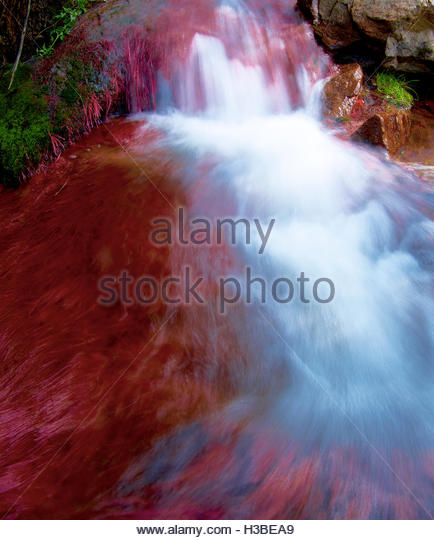 long exposure of river rapids close-up - Stock Image