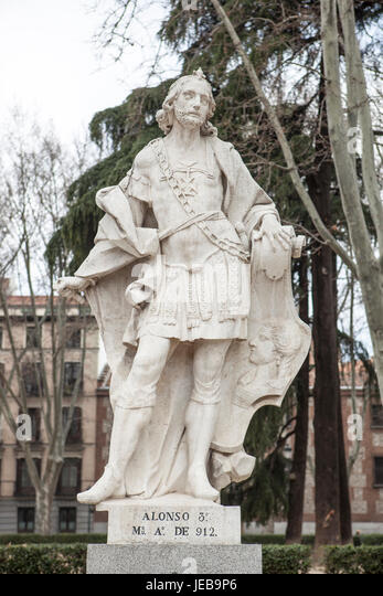 Madrid, Spain - february 26, 2017: Sculpture of Alfonso III at Plaza de Oriente, Madrid. He was king of Asturias - Stock Image