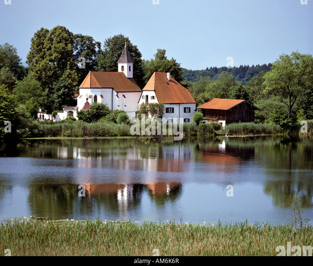 Seeon Abbey, Walpurgiskapelle (chapel), Seeoner See (Lake Seeon), Traunstein, Chiemgau, Upper Bavaria, Germany - Stock Image