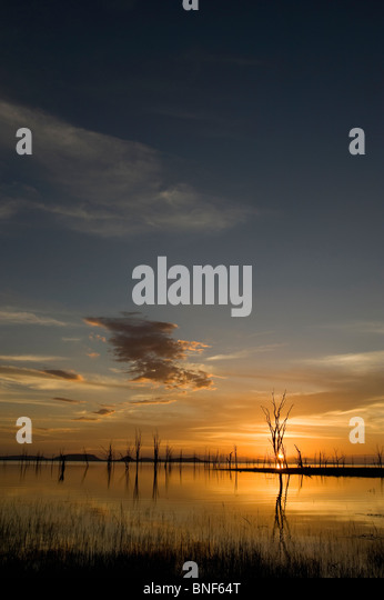 View of Rhino Island at sunset, Lake Kariba, Matusadona National Park, Zimbabwe - Stock Image