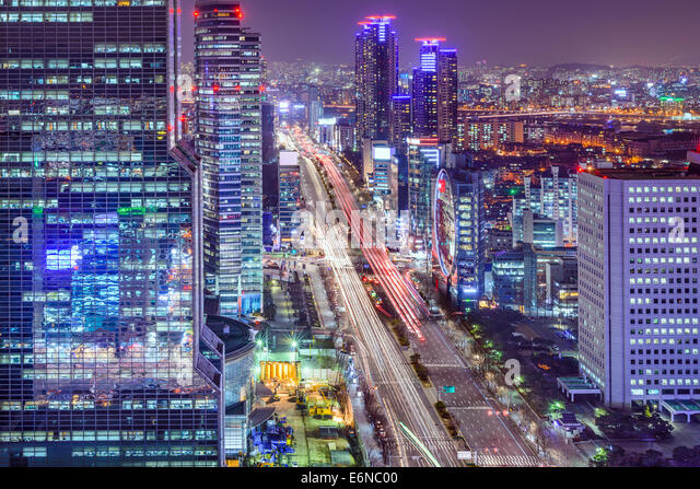 Seoul, South Korea cityscape at Teheranno District at night. - Stock Image
