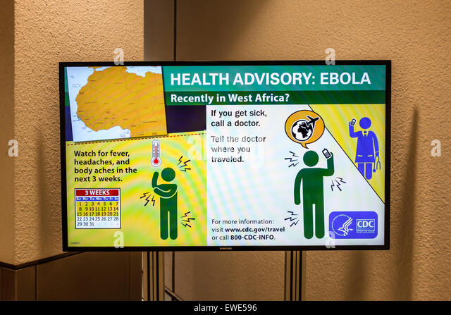 Miami Florida International Airport MIA sign information health advisory Ebola CDC Centers for Disease Control and - Stock Image