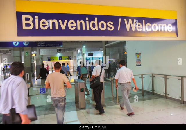 Peru Lima Paseo de la Republica Estacion Central station Metropolitano Bus Line Hispanic - Stock Image