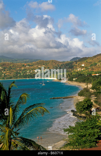 Grenada beach Grand Anse Beach st george's top attraction aerial view from above - Stock Image