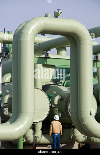 The workings of a geothermal powered electricity generating plant in Malta Idaho USA - Stock Image