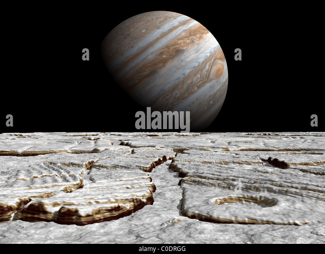 Artist's concept of Jupiter as seen across the icy surface of its moon Europa. - Stock-Bilder