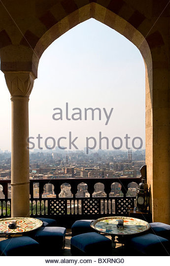 Egypt, Old Cairo, The Hilltop restaurant at Al Azhar Park - Stock Image