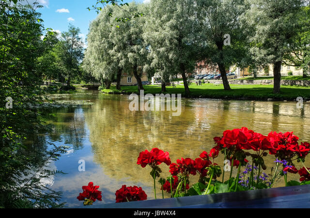 FISKARS, FINLAND - July 22, 2016:Scenic landscape with idyllic village at bright summer day - Stock Image