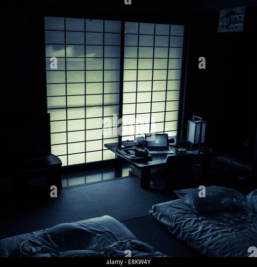 Early morning light through paper screened door, Koya-san, Japan. - Stock Image