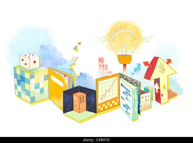Illustration of light bulb and objects - Stock-Bilder