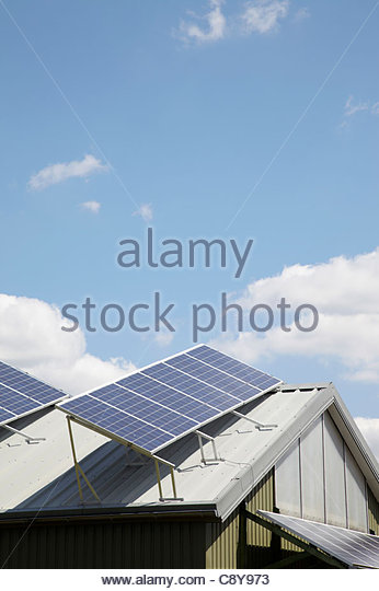 solar panels on roof of house - Stock Image