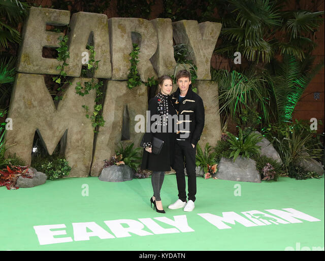 London, UK. 14th January, 2018. Hannah Bagshawe, Eddie Redmayne, Early Man - World premiere, BFI IMAX, London UK, - Stock Image