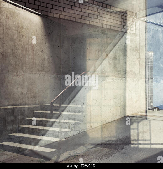 Abstract multiple exposure urban background. Architectural details. - Stock Image