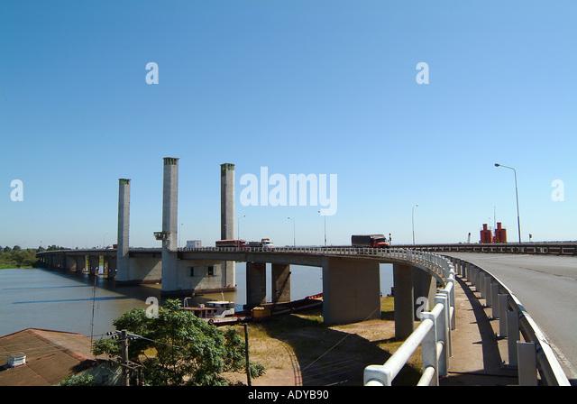 Rio Grande do Sul sunny enginnering elevating bridge lanes guaiba river rio grande do sul porto alegre capital transportation - Stock Image