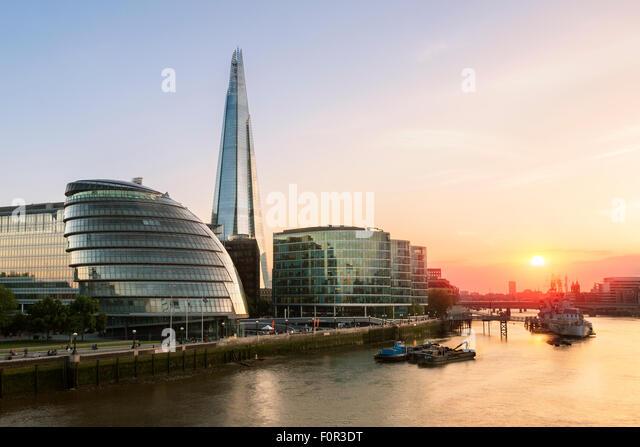 London, Shard London Bridge and London City hall at Sunset - Stock Image