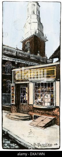 Benjamin Franklin's bookshop next to Christ Church in Philadelphia. - Stock-Bilder