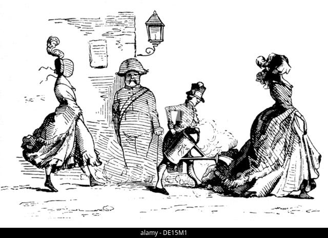 fashion 19th century measures for trains raising dust drawing 19th century 19th century graphic graphics caricature - Stock-Bilder