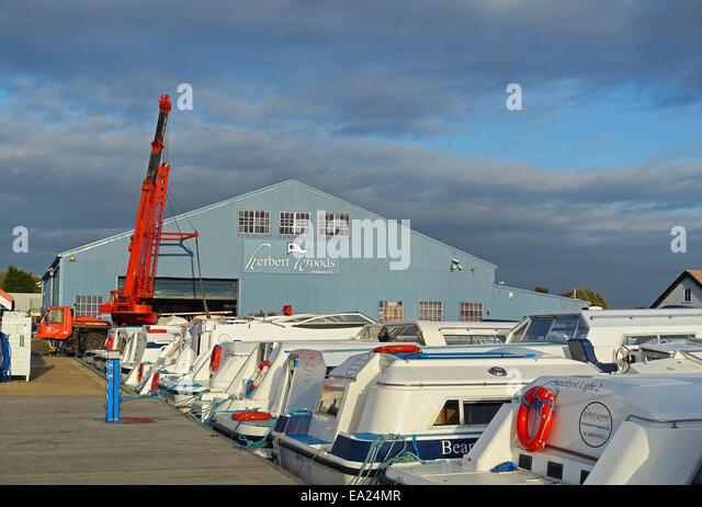 Herbert Woods boating centre and marina, Potter Heigham, Norfolk, England UK - Stock Image