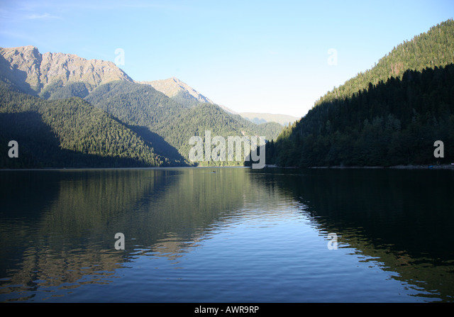 One of the most beautiful places of a planet. Morning on mountain lake near of the black sea. - Stock Image