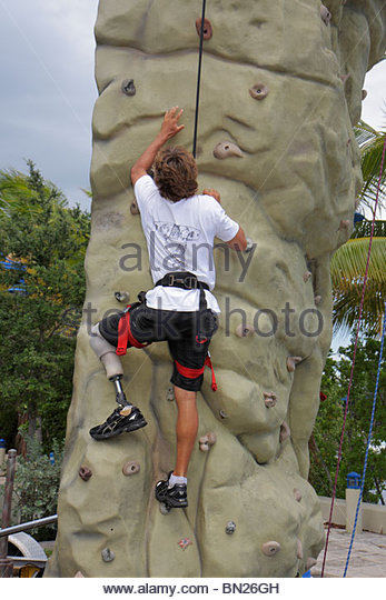 Miami Coconut Grove Florida Shake-a-Leg Miami No Barriers Festival disabled physical disability handicapped man - Stock Image