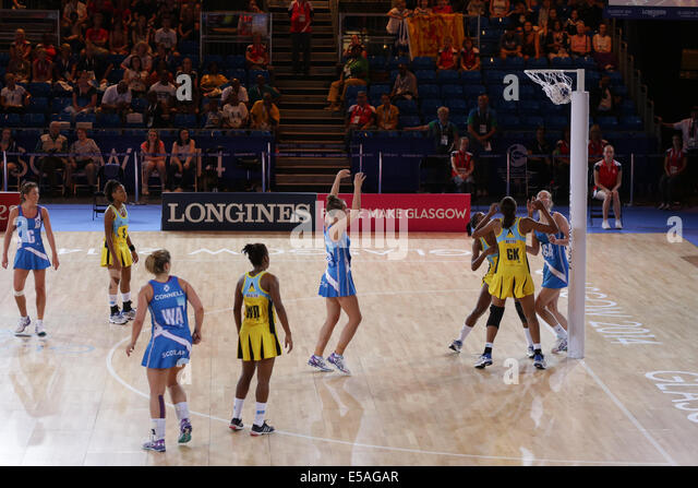 Netball Preliminary Match between Scotland and Saint Lucia at the Glasgow 2014 Commonwealth Games. Scotland's - Stock Image